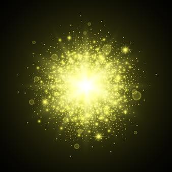Luzes abstratas. poeira estelar. flash, brilhos. flare. fundo brilhante. efeito de luz. ilustração.