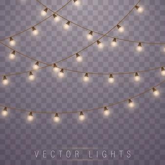 Luzes amarelas isolaram elementos de design realistas. Vetor Premium