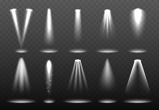 Luzes brancas realistas. projeção brilhante holofotes iluminação ambiente brilhante visualização