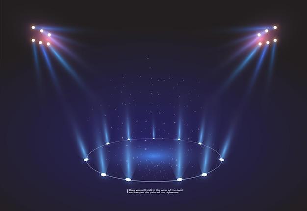Luzes brilhantes da arena do estádio. estádio esportivo com luzes