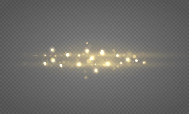 Luzes brilhantes de bokeh, partículas de estrelas do sol brilhando com efeito de reflexo de lente, poeira de natal