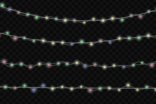 Luzes brilhantes de natal. guirlandas, decorações de natal