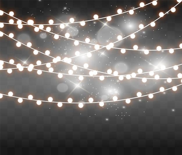 Luzes brilhantes e bonitas de natal. luzes brilhantes de cartões de natal. guirlandas, decorações de natal de luz.