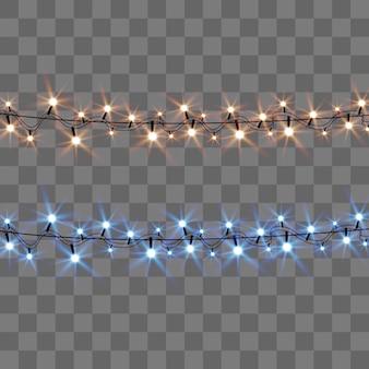 Luzes brilhantes e bonitas de natal. luzes brilhantes para o design de cartões de natal. guirlandas, decorações de natal de luz.