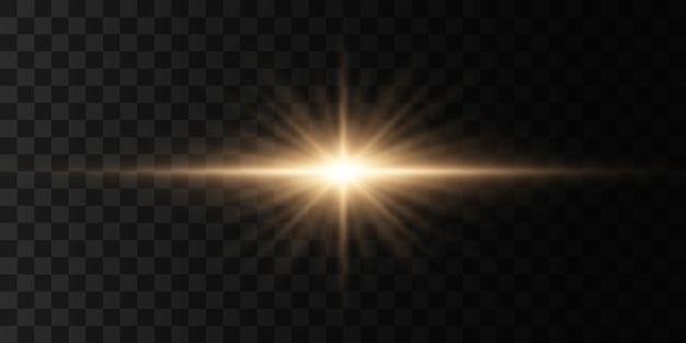 Luzes brilhantes e estrelas. a luz explode, brilha.