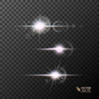 Luzes brilhantes e estrelas isoladas em um fundo preto transparente