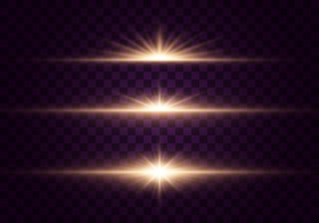 Luzes brilhantes e estrelas. isolado em fundo transparente conjunto de luz explode. partículas de poeira mágica cintilante. estrela brilhante, brilha sol brilhante transparente, flash efeito de luz.