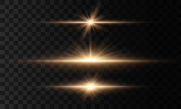 Luzes brilhantes e estrelas. isolado em fundo transparente conjunto de luz explode. partículas de poeira mágica cintilante. estrela brilhante, brilhos sol brilhante transparente, flash efeito de luz