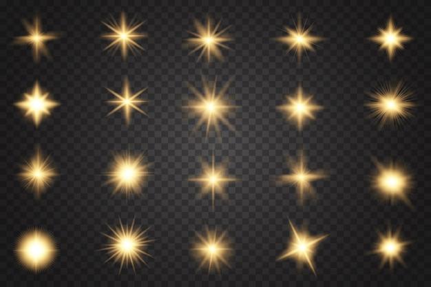 Luzes brilhantes e estrelas. ouro brilhante pisca e brilha.