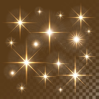 Luzes brilhantes e estrelas