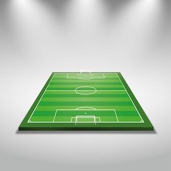 Luzes brilhantes iluminadas campo de futebol