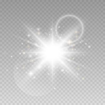 Luzes brilhantes sobre fundo transparente.