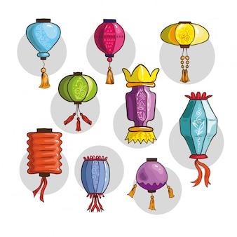 Luzes chinesas coloridas e lanternas