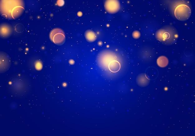 Luzes coloridas bokeh isolado em azul