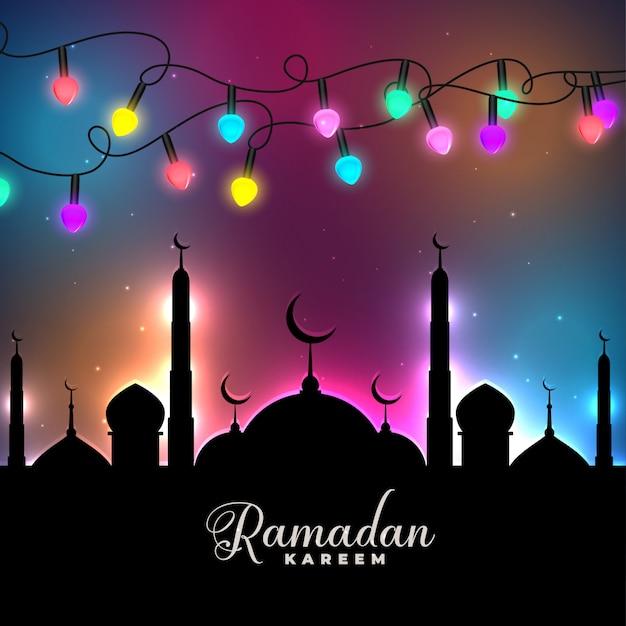 Luzes coloridas festival decorativo ramadan kareem