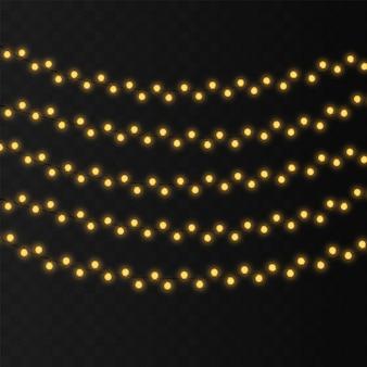 Luzes da corda decoração isolada no fundo transparente