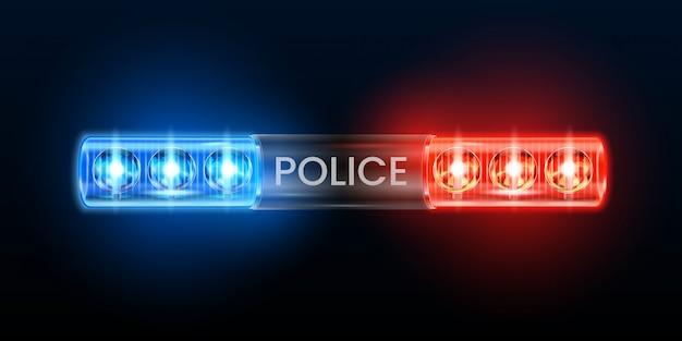 Luzes da sirene da polícia. pisca-pisca de farol, carro de polícia piscando a luz e ilustração de sirenes de segurança azul vermelho