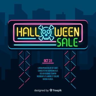 Luzes de banner de venda de halloween plana