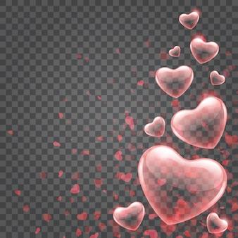Luzes de bokeh de confete de corações isoladas em fundo transparente