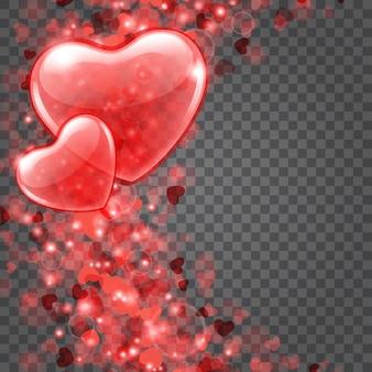 Luzes de bokeh de confetes de corações isoladas em fundo transparente. cenário de substituição fácil.