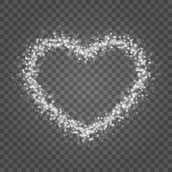 Luzes de bokeh de corações brilham isoladas em fundo transparente.