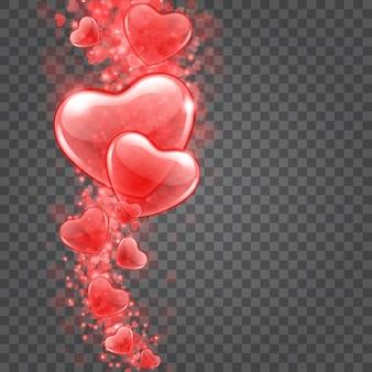 Luzes de bokeh de corações isoladas em fundo transparente.