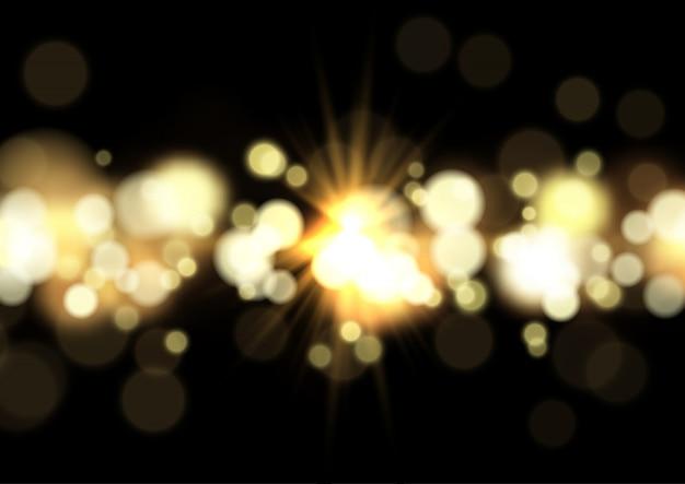 Luzes de bokeh e fundo de starburst
