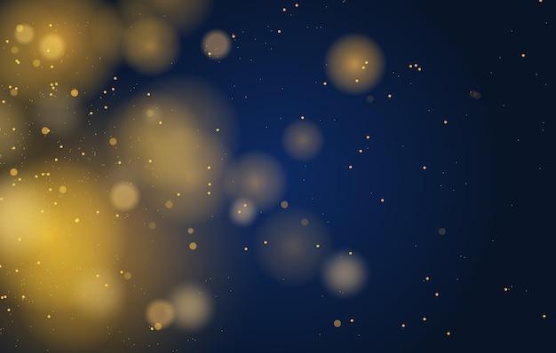 Luzes de bokeh mágico abstrato com efeito de fundo, preto, glitter dourado