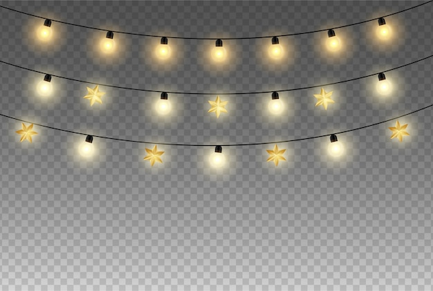 Luzes de celebração isoladas em fundo transparente.