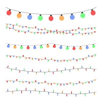 Luzes de festão de férias de natal em conjunto de vetor de estilo simples