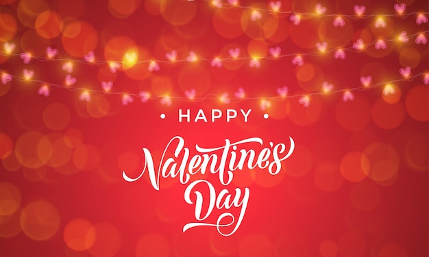 Luzes de guirlanda de dia dos namorados e padrão de corações vetoriais para plano de fundo premium com cartão vermelho