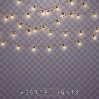 Luzes de natal amarelas, elementos de design realista.