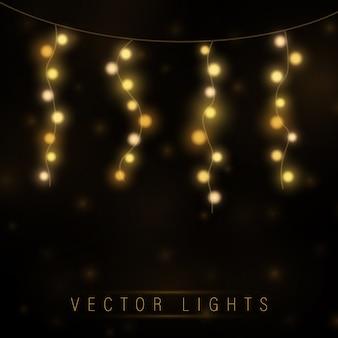 Luzes de natal amarelas. guirlanda de natal brilhante.