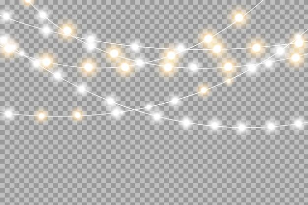 Luzes de natal amarelas isoladas elementos de design realista. luzes de natal isoladas em transparente