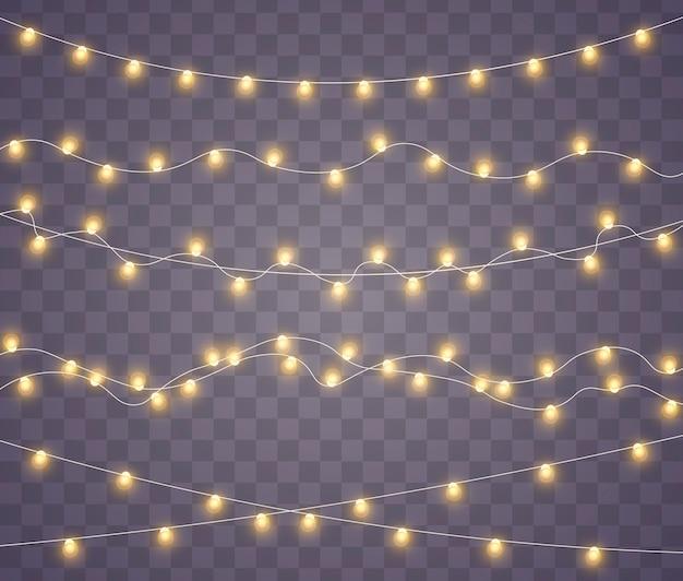 Luzes de natal amarelas isolaram elementos de design realista. luzes de natal isoladas em fundo transparente. guirlanda brilhante de natal. ilustração.