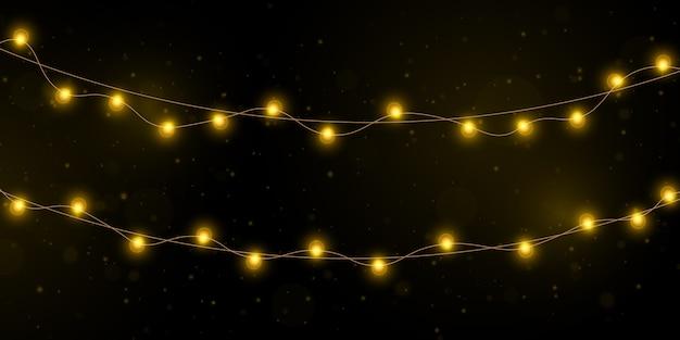 Luzes de natal amarelas isolaram elementos realistas.
