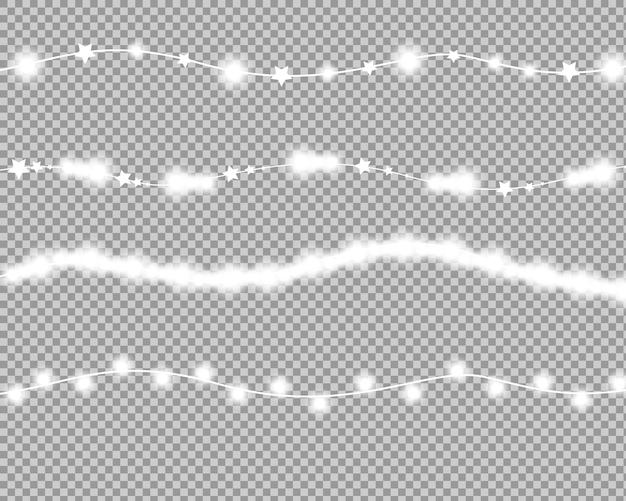 Luzes de natal branco isolado elementos de design realista