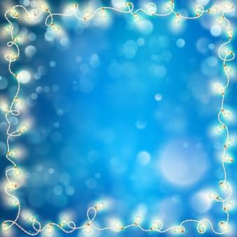 Luzes de natal com bokeh. efeito de desfocagem óptica. e também inclui
