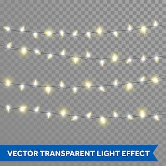 Luzes de natal com efeito de luz de fundo transparente