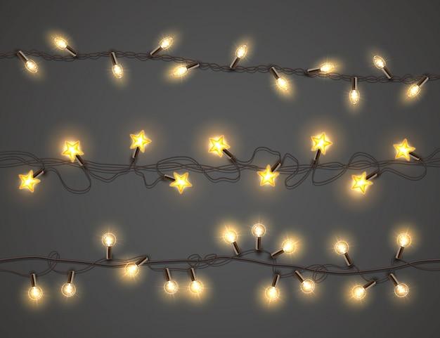 Luzes de natal, conjunto guirlanda realista