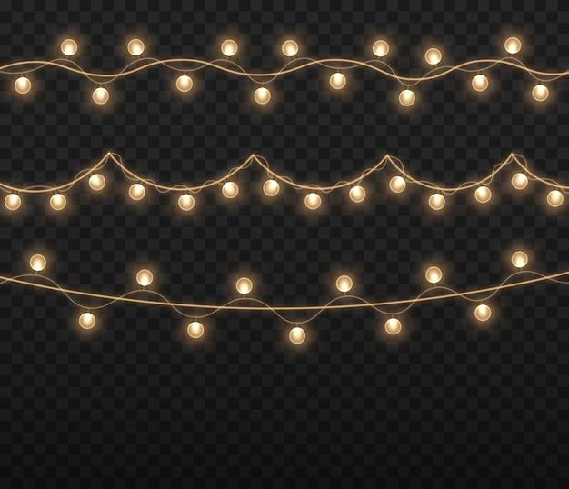 Luzes de natal cordão dourado brilhante de guirlandas de natal