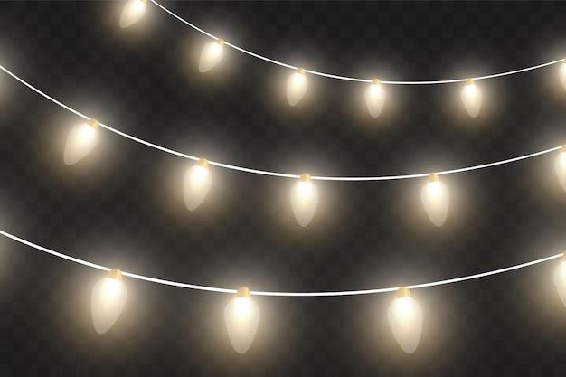 Luzes de natal de vetor, isoladas em um fundo transparente. guirlanda de natal brilhante. luzes brancas translúcidas de decoração de ano novo. lâmpada de néon led. luzes luminosas para as férias de natal