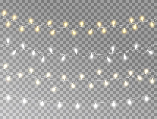 Luzes de natal definidas isoladas. guirlanda brilhante.