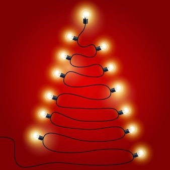 Luzes de natal em forma de árvore de natal - guirlandas de luzes festivas