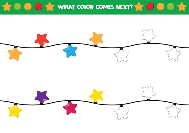 Luzes de natal em formas de estrelas para colorir planilha