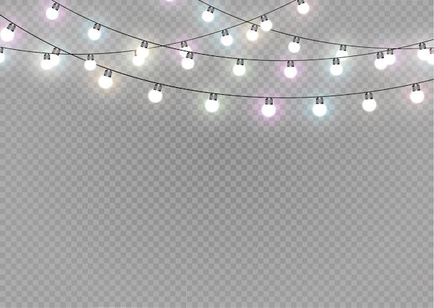 Luzes de natal em fundo transparente