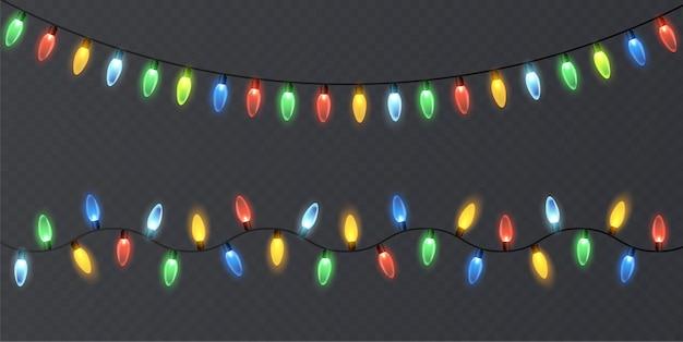 Luzes de natal em um fundo transparente.