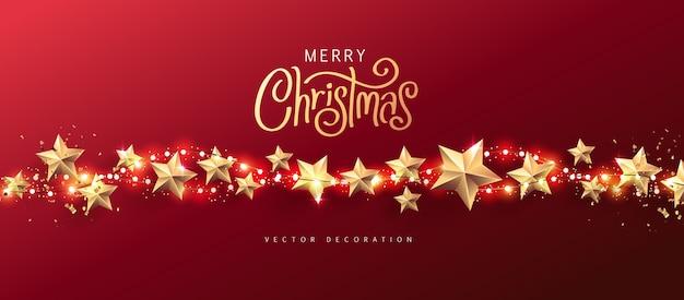 Luzes de natal feliz e elementos de design de estrelas realistas.