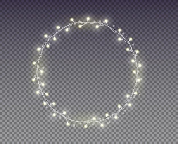 Luzes de natal. guirlanda branca