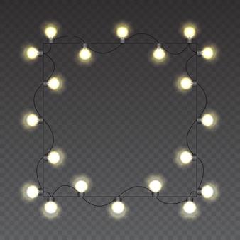 Luzes de natal guirlanda brilhante realista isolada realista para o natal